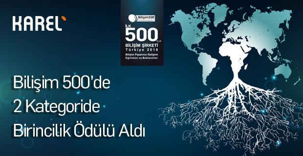 Karel'e Bilişim 500'de 2 Birincilik Ödülü